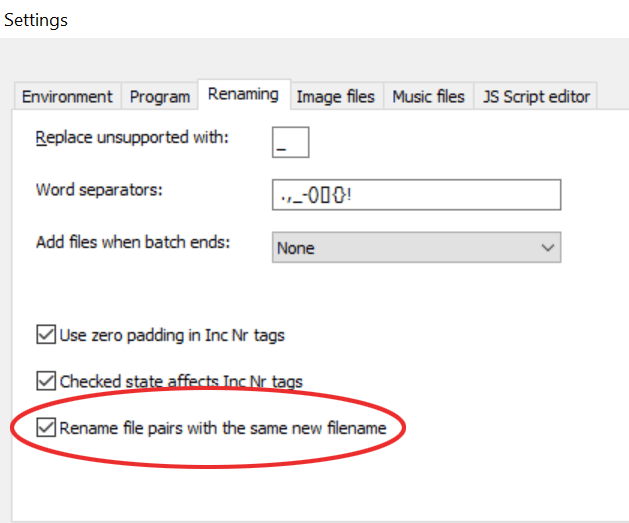 File pair rename setting