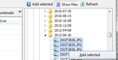Add files and folder through the folder panel